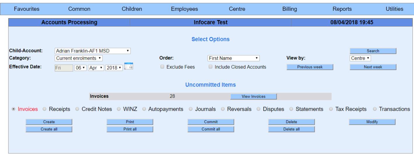 infocare how do i create invoices